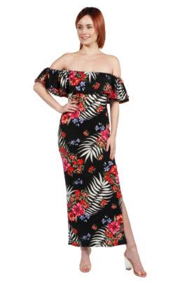 24Seven Comfort Apparel Gillian Red and Black MaxiDress