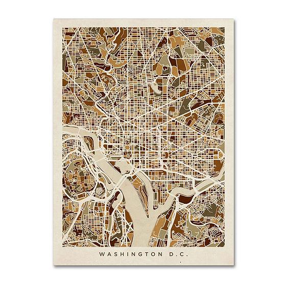 Trademark Fine Art Michael Tompsett Washington DCStreet Map 3 Giclee Canvas Art
