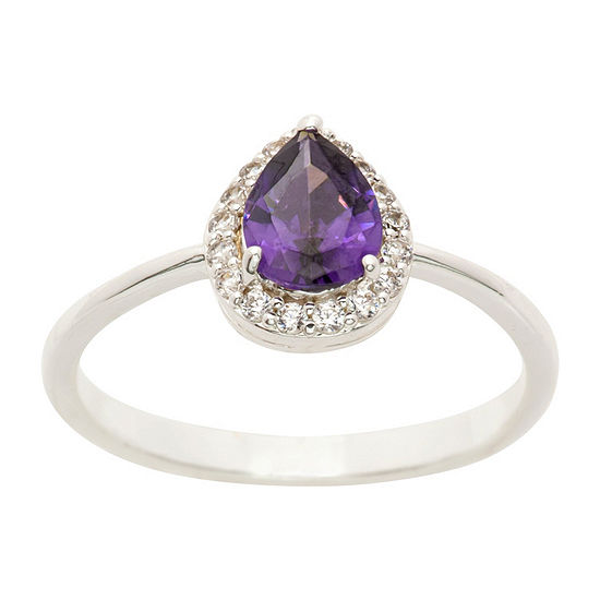 Sparkle Allure Womens 1 CT. T.W. Lab Created Purple Pure Silver Over Brass Cocktail Ring