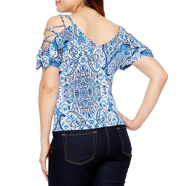 Bold Elements Lace Up Sleeve Cold Shoulder Top