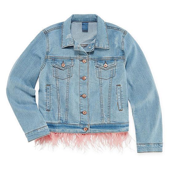 Arizona Denim Jacket with Removable Feather Trim - Girls' 4-16 & Plus