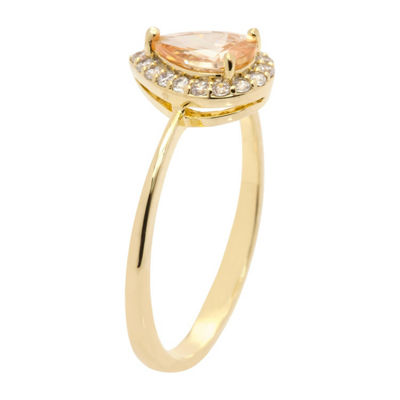 Sparkle Allure Ring Box Test Womens 1 CT. T.W. Lab Created Champagne 14K Gold Over Brass Cocktail Ring