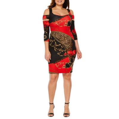 Bold Elements 3/4 Sleeve Animal Bodycon Dress