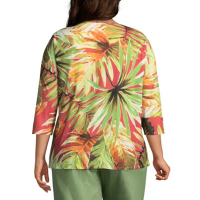 Alfred Dunner Parrot Cay Leaves Tee - Plus