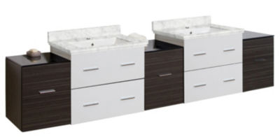 88.5-in. W Wall Mount White-Dawn Grey Vanity Set For 1 Hole Drilling Bianca Carara Top White UM Sink