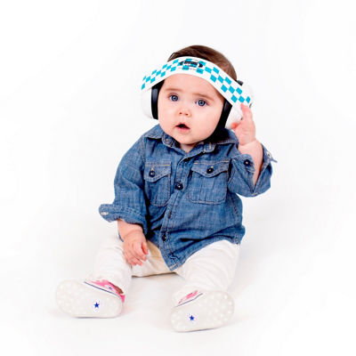 Ems for Kids Bubs White Hearing & Noise Protection Baby Earmuffs - Blue/White Headband