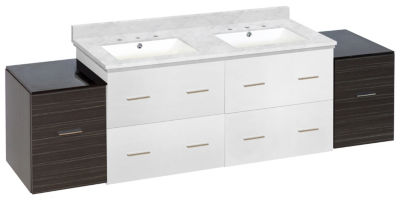 74.5-in. W Wall Mount White-Dawn Grey Vanity Set For 3H8-in. Drilling Bianca Carara Top White UM Sink