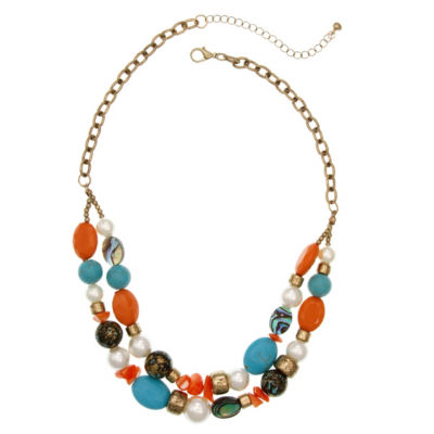Mixit Coral Turq Pearl Beaded Necklace