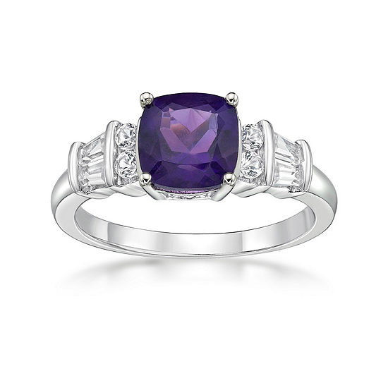 Womens Genuine Purple Amethyst Cocktail Ring