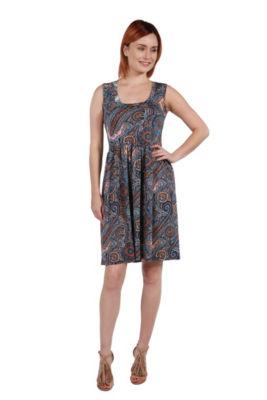 24Seven Comfort Apparel Kirstin Multicolor Sleeveless Dress