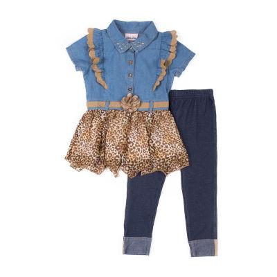 Little Lass 2-pc Leopard Hem Top Legging Set-Baby Girls