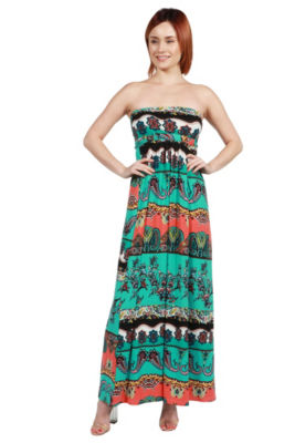 24Seven Comfort Apparel Bethany Strapless Green and Black Empire Waist Maxi Dress