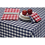 Design Imports Navy & White Checker Tablecloth