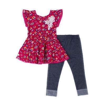 Little Lass 2pc Floral Crochet Top Legging Set-Baby Girls