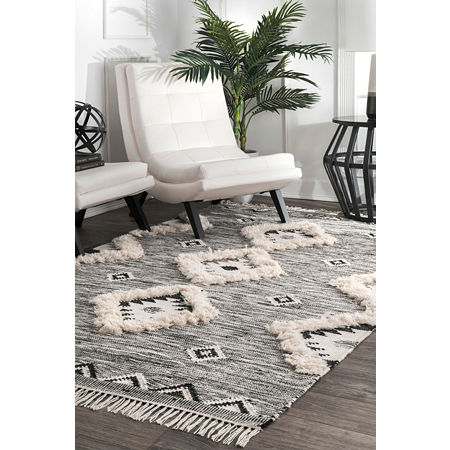 nuLoom Moroccan Textured Shaggy Wool Woven Area Rug, One Size , Gray
