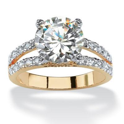 Diamonart Womens 4 1/2 CT. T.W. White Cubic Zirconia 14K Gold Over Brass Engagement Ring
