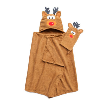American Dawn Tub Time Tots Reindeer Hooded Towel