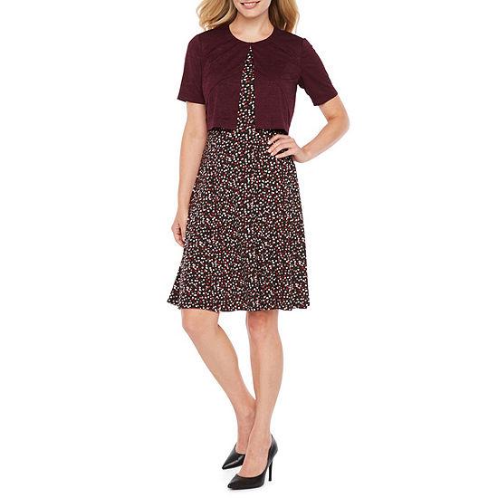 Perceptions Sleeveless Jacket Dress-Petite
