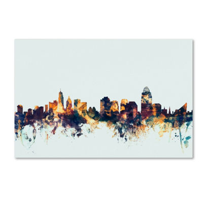 Trademark Fine Art Michael Tompsett Cincinnati Ohio Skyline Blue Giclee Canvas Art