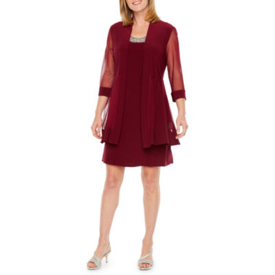 R & M Richards 3/4 Sleeve Embellished Jacket Dress