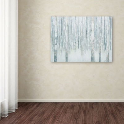 Trademark Fine Art Julia Purinton Birches in Winter Blue Gray Giclee Canvas Art