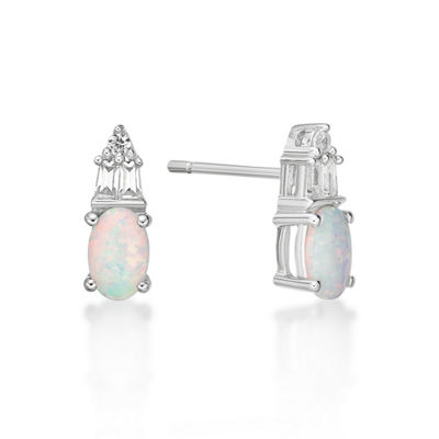 Lab Created White Opal Sterling Silver 10.5mm Stud Earrings