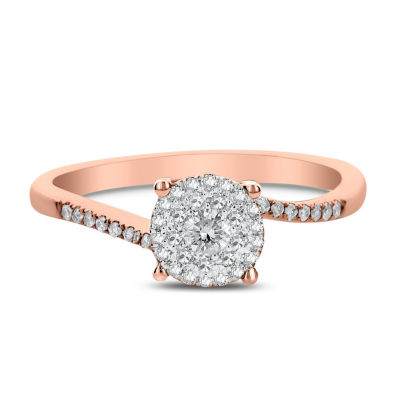 Womens 1/4 CT. T.W. Genuine White Diamond 14K Rose Gold Engagement Ring