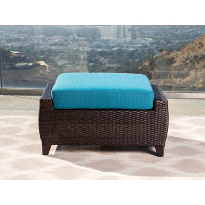 Brooklyn Sunbrella Blue Outdoor Wicker 7 Piece Seating Set