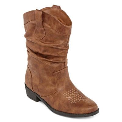 Arizona Little Kid/Big Kid Girls Paisley Slouch Boots Stacked Heel Zip