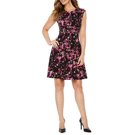London Times Sleeveless Floral Fit Flare Dress