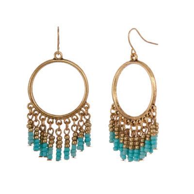 Mixit Coral Turq Pearl Drop Earrings