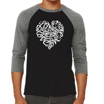 Los Angeles Pop Art Men's Raglan Baseball Word Art T-Shirt - LOVE