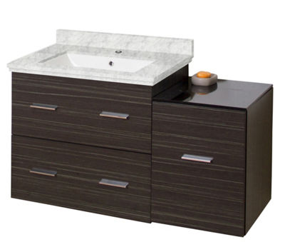 37.75-in. W Wall Mount Dawn Grey Vanity Set For 1Hole Drilling Bianca Carara Top White UM Sink