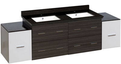 76-in. W Wall Mount White-Dawn Grey Vanity Set For1 Hole Drilling Black Galaxy Top White UM Sink