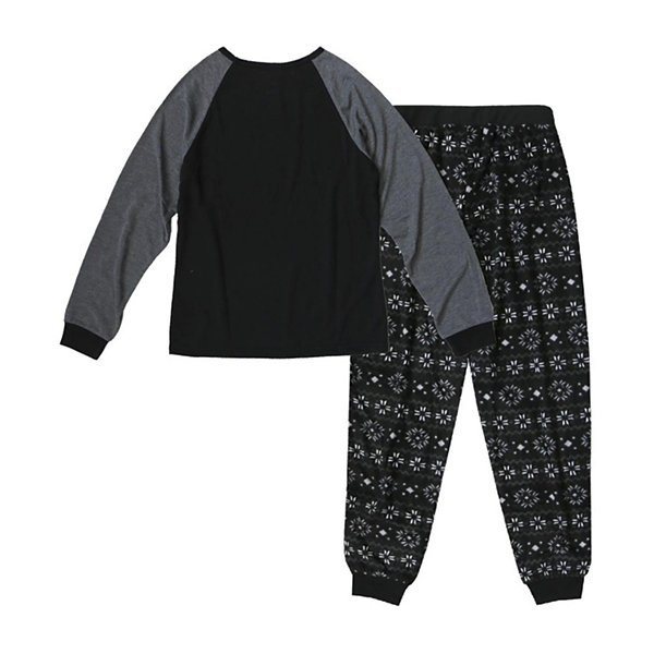 Holiday #Famjams Black and Gray Fairisle 2 Piece Pajama Set - Girl's