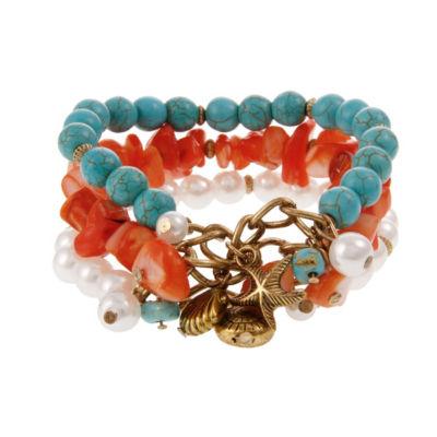Mixit Coral Turq Pearl Womens Stretch Bracelet