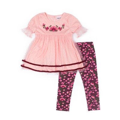 Little Lass 2-pc Ric Rac Top Legging Set-Baby Girls