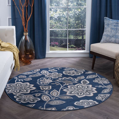 Tayse Emmalyn Transitional Floral Round Area Rug