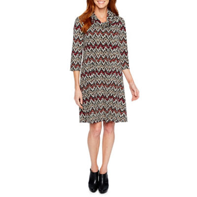 Perceptions 3/4 Sleeve Chevron Shift Dress