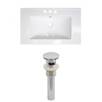 32-in. W 3H4-in. Ceramic Top Set In White Color -Overflow Drain Incl.