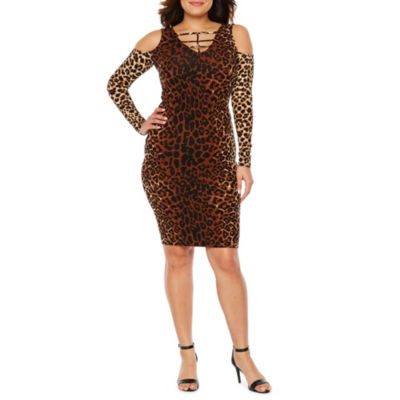 Bold Elements Long Sleeve Leopard Bodycon Dress