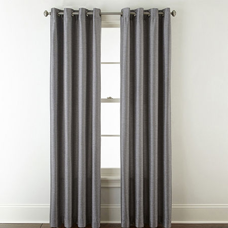 JCPenney Home Westfield Light-Filtering Grommet-Top Single Curtain Panel, One Size , Gray