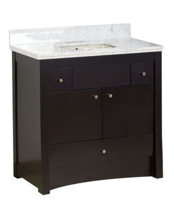 36-in. W Floor Mount Distressed Antique Walnut Vanity Set For 3H4-in. Drilling Bianca Carara Top Biscuit UM Sink