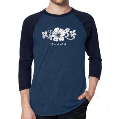 Los Angeles Pop Art Men's Raglan Baseball Word ArtT-shirt - ALOHA