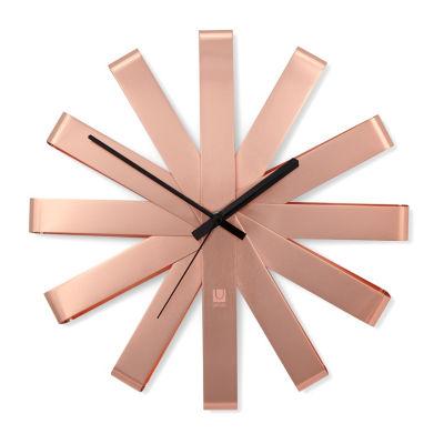 Umbra Ribbon Wall Clock 12in Copper Wall Clock-118070-880