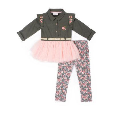 Little Lass 2-pc Floral Print Legging Set-Baby Girls