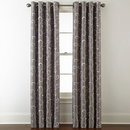 JCPenney Home Plaza Embroidery Blackout Grommet-Top Single Curtain Panel, One Size , Gray