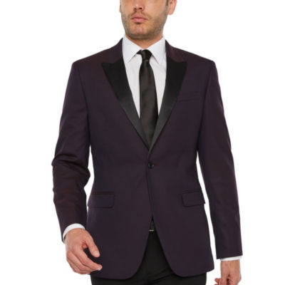 JF J.Ferrar Formal Stretch Burgundy Geo Classic Fit Sport Coat
