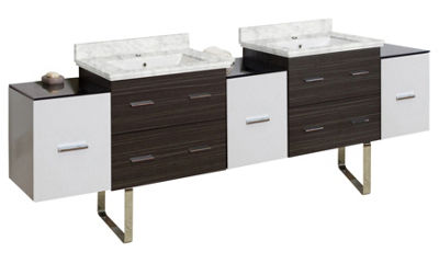 90-in. W Floor Mount White-Dawn Grey Vanity Set For 1 Hole Drilling Bianca Carara Top White UM Sink