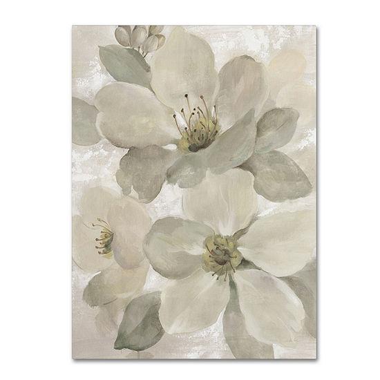 Trademark Fine Art Silvia Vassileva White on WhiteFloral I Crop Neutral Giclee Canvas Art